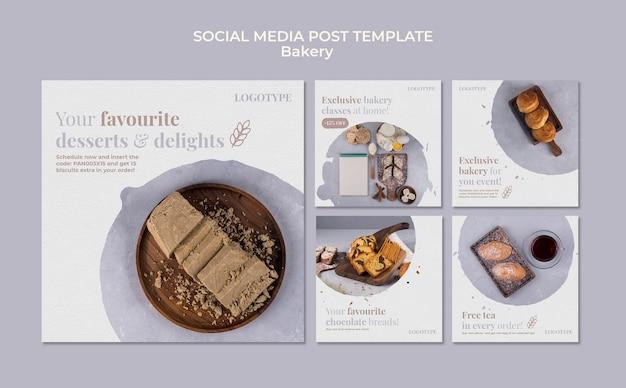 Modello di post sui social media di annunci di panetteria