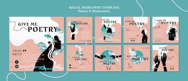 Modello di post sui social media di annunci di poesia