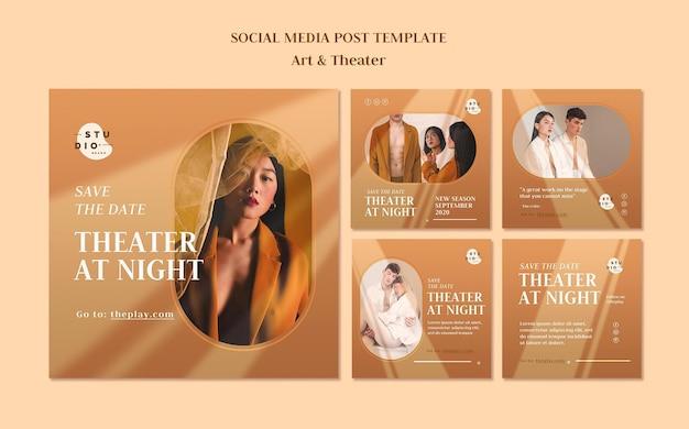 Modello di post sui social media di arte e teatro
