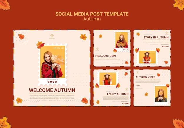 Modello di post sui social media di autunno