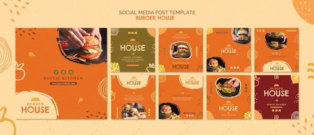Modello di post sui social media di burger house