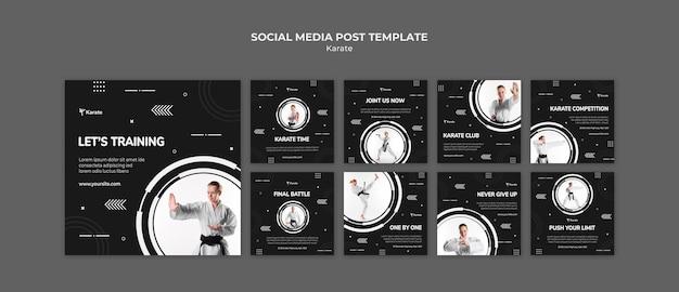 Modello di post sui social media di classe karate