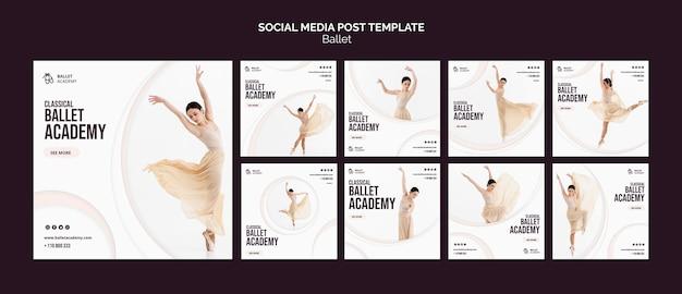 Modello di post sui social media di concetto di balletto