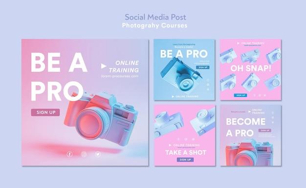 Modello di post sui social media di concetto di fotografia