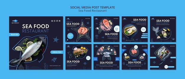 Modello di post sui social media di concetto di frutti di mare