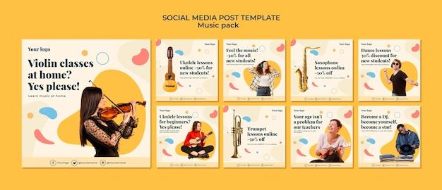 Modello di post sui social media di concetto di musica