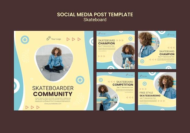 Modello di post sui social media di concetto di skateboard