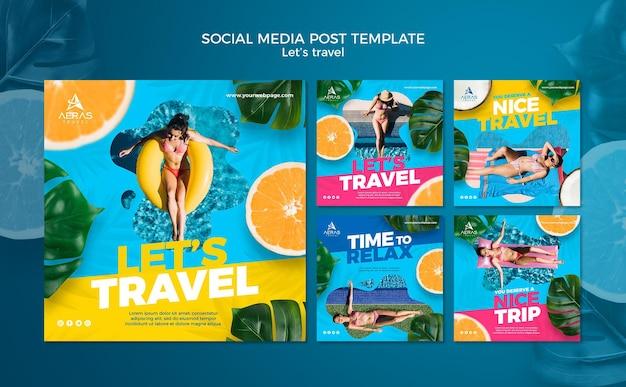 Modello di post sui social media di concetto di viaggio