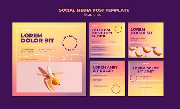 Modello di post sui social media di design a gradiente