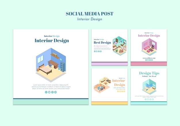 Modello di post sui social media di interior design