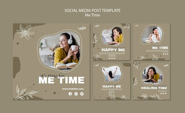 Modello di post sui social media di me time