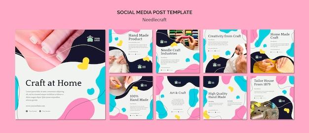Modello di post sui social media di needlecraft