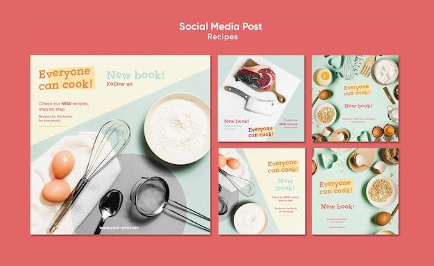 Modello di post sui social media di ricette di cucina