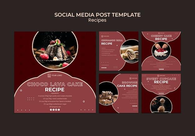 Modello di post sui social media di ricette di dessert