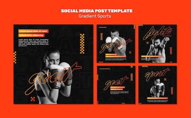 Modello di post sui social media di sport di combattimento