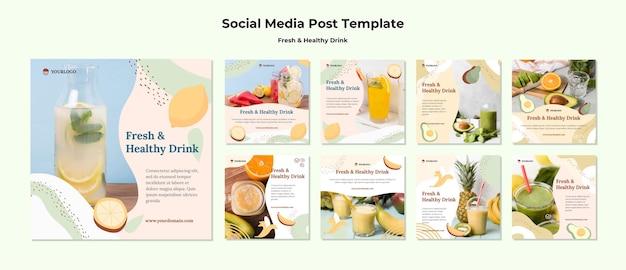Modello di post sui social media di succo di frutta