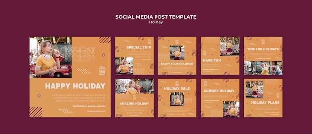 Modello di post sui social media di vacanza felice