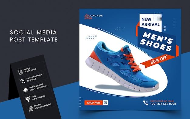 Modello di post sui social media di vendita di scarpe nuove di arrivo