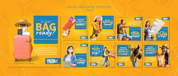 Modello di post sui social media di viaggio