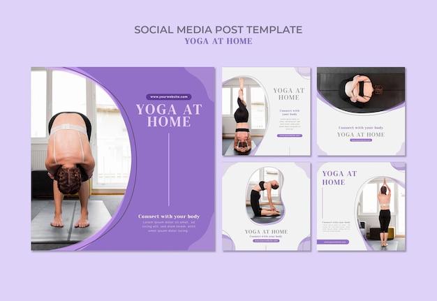 Modello di post sui social media di yoga a casa