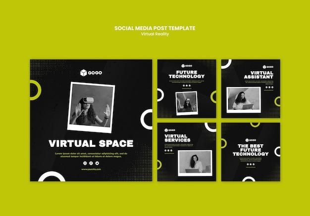 Modello di post sui social media in realtà virtuale