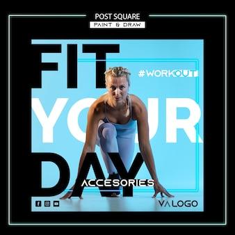 Modello di post sui social media per allenamento fitness