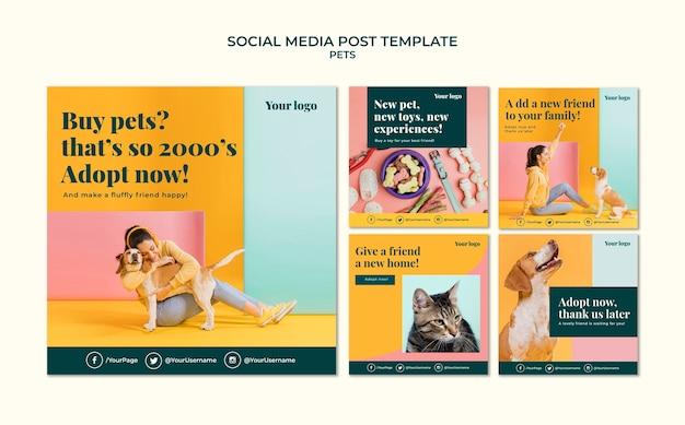 Modello di post sui social media per animali domestici