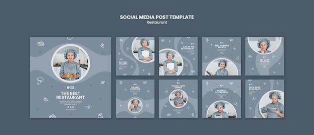 Modello di post sui social media per annunci di ristoranti