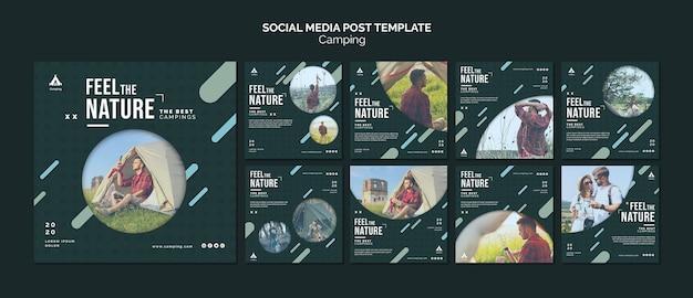 Modello di post sui social media per campeggio