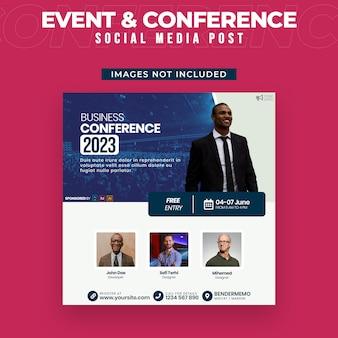 Modello di post sui social media per eventi e conferenze
