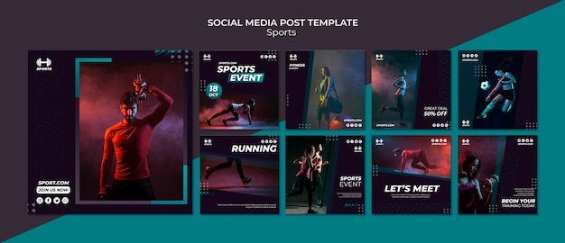 Modello di post sui social media per eventi sportivi