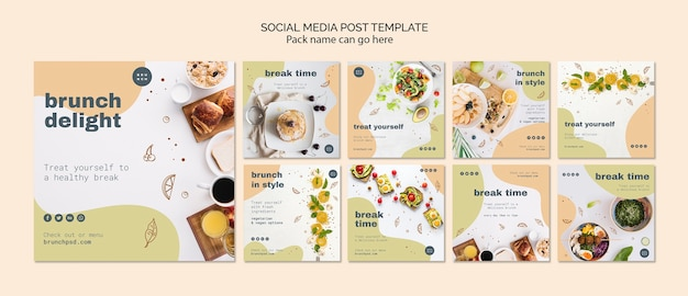 Modello di post sui social media per il brunch
