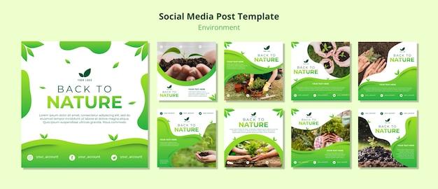 Modello di post sui social media sulla natura