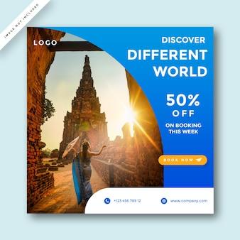 Modello di post vendita di feed di social media di viaggio