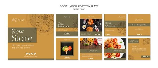Modello di posta instagram cibo italiano