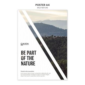 Modello di poster a4 natura selvaggia