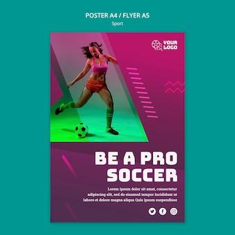 Modello di poster annuncio allenamento di calcio