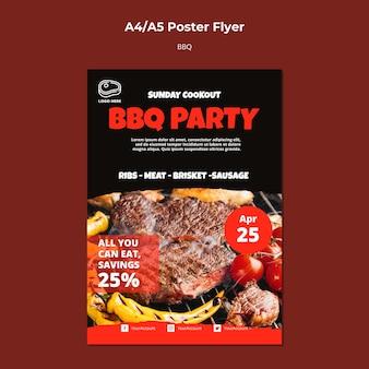 Modello di poster con design barbecue