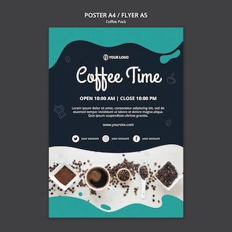 Modello di poster con design di caffè