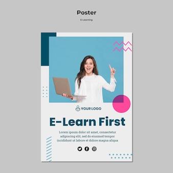 Modello di poster con design e-learning