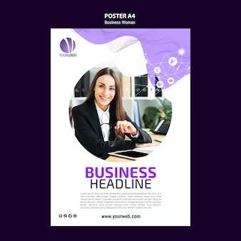 Modello di poster con donna d'affari
