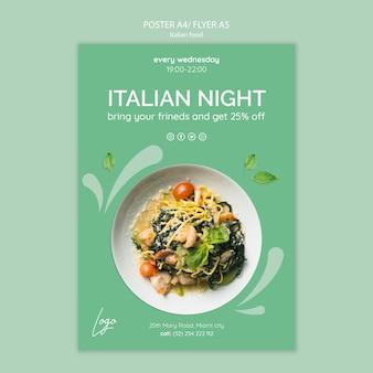 Modello di poster con tema di cibo italiano