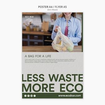 Modello di poster con zero rifiuti