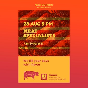 Modello di poster concetto barbecue