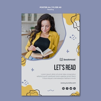 Modello di poster concetto di lettura