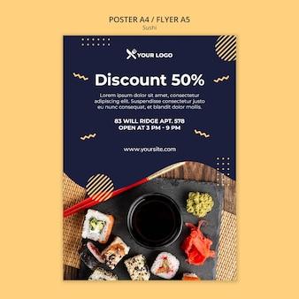 Modello di poster concetto di sushi