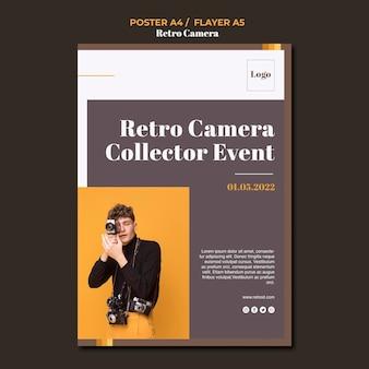 Modello di poster concetto fotocamera retrò