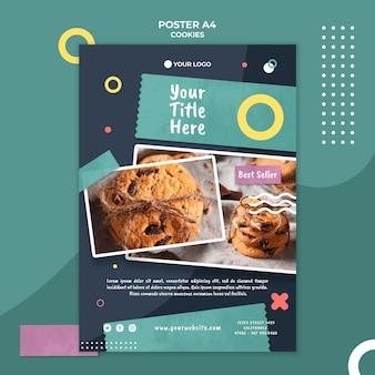 Modello di poster del negozio di biscotti