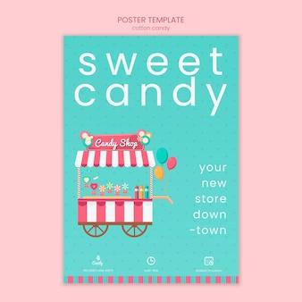 Modello di poster del negozio di caramelle