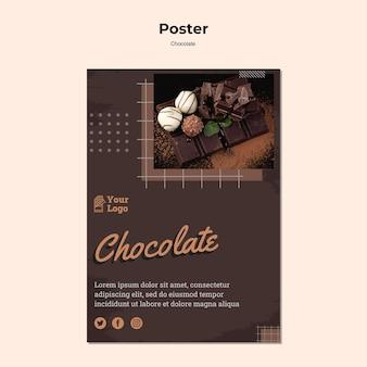 Modello di poster del negozio di cioccolato